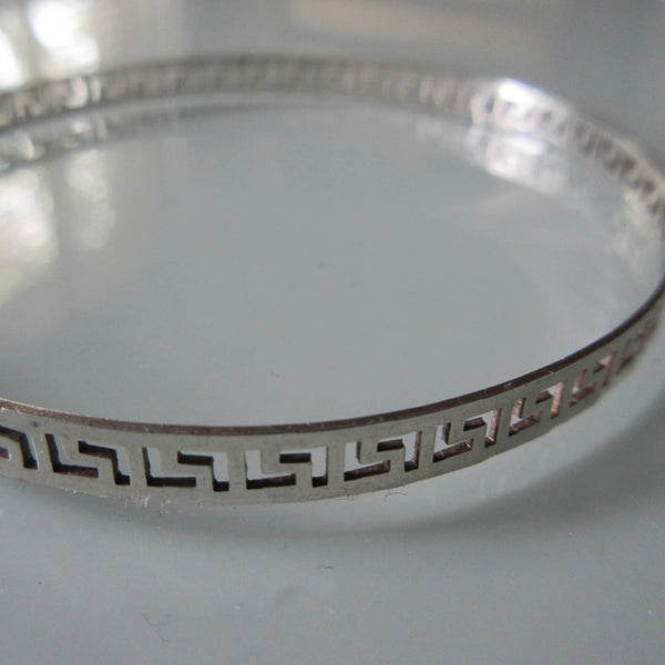 Vintage Sterling Silver Greek Key Bangle
