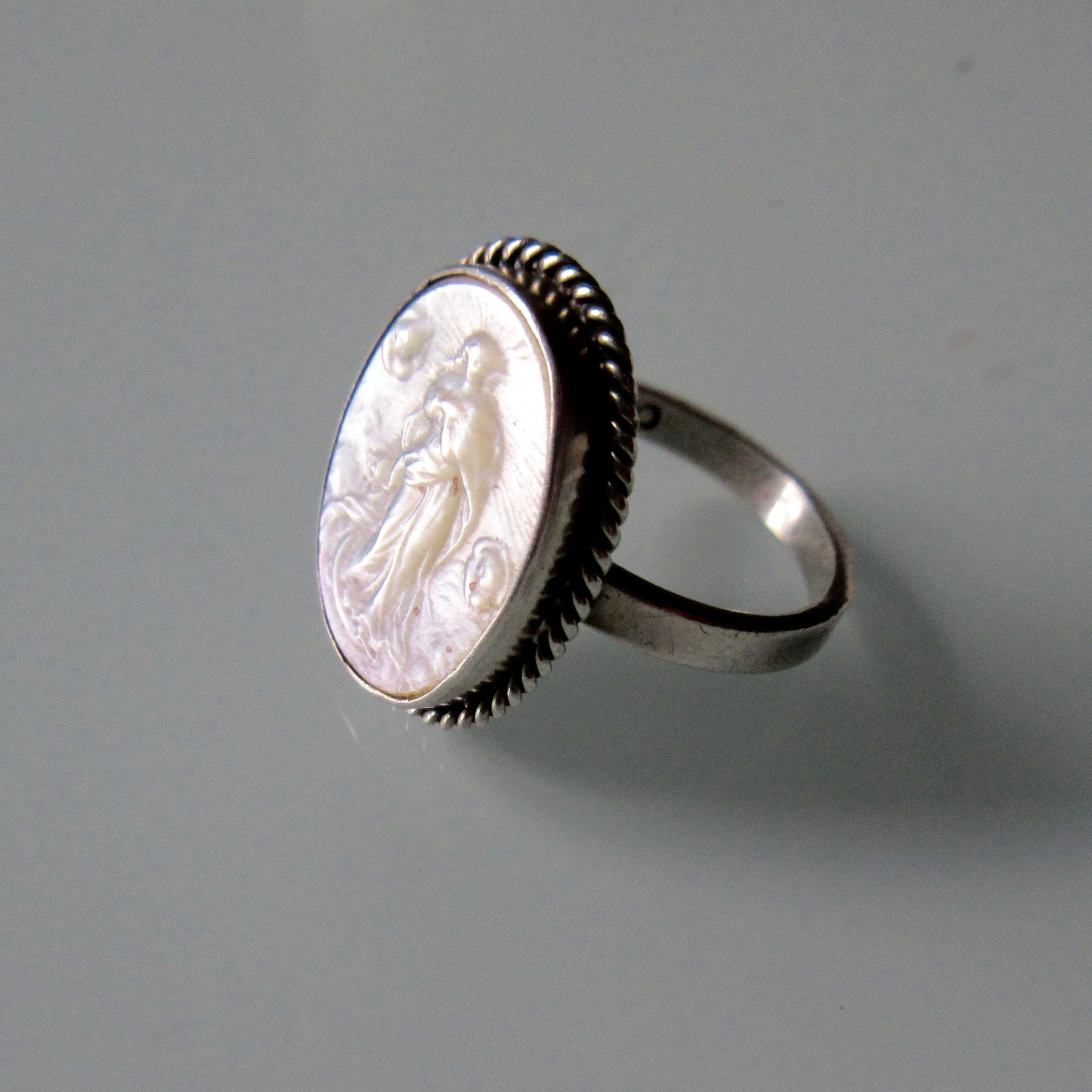 Victorian Sterling Silver Mother of Pearl Guardian Angel Ring