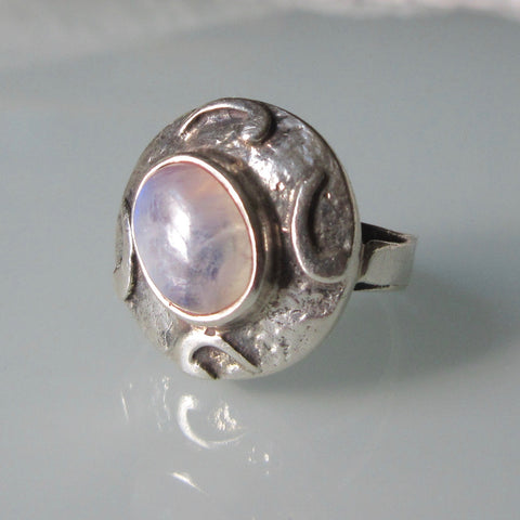 Art Nouveau Moonstone Silver Ring