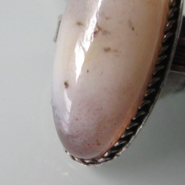 Quartz Agate Blush Pink & Sterling Silver Ring Russian