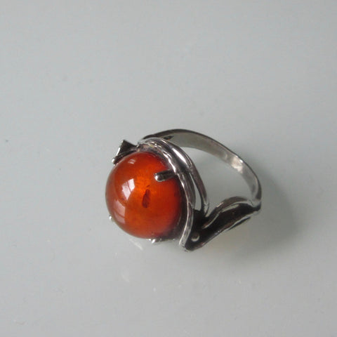 Art Nouveau  Amber & Sterling Silver Ring