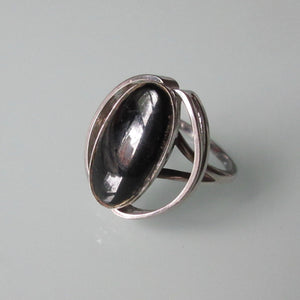 Modernist Sterling Silver Black Onyx Ring