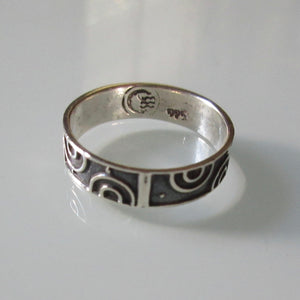 Modernist Sterling Silver Ring Half Circles