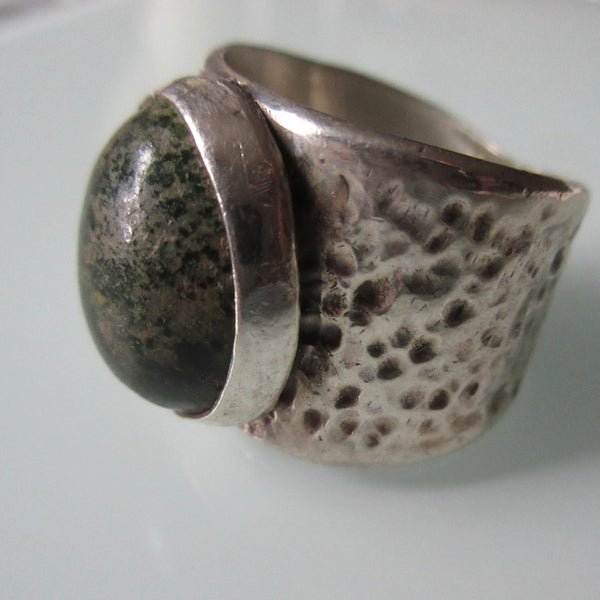 Green Moss Textured Sterling Silver Ring
