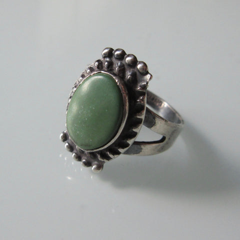 Oval Green Turquoise & Sterling Ring