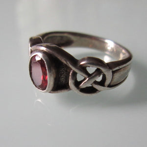Celtic Knot Garnet & Sterling Silver Ring