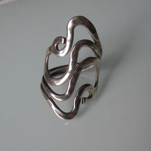 Contemporary Organic Swirl Sterling Silver Ring