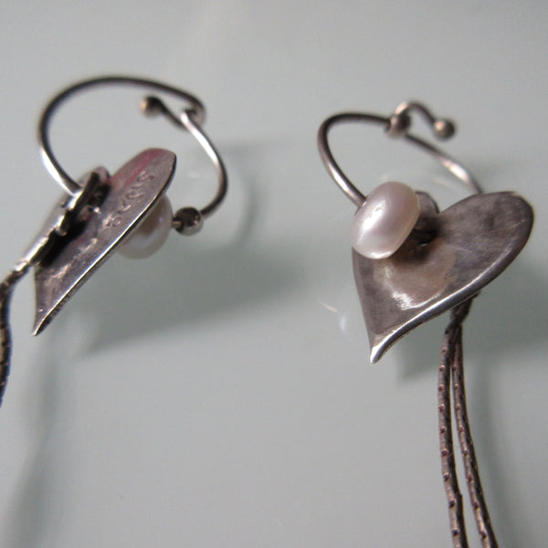 Contemporary Heart and Pearl Dangle Silver Earrings