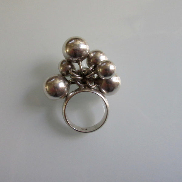 Sterling Silver Ring 7 Dangle balls