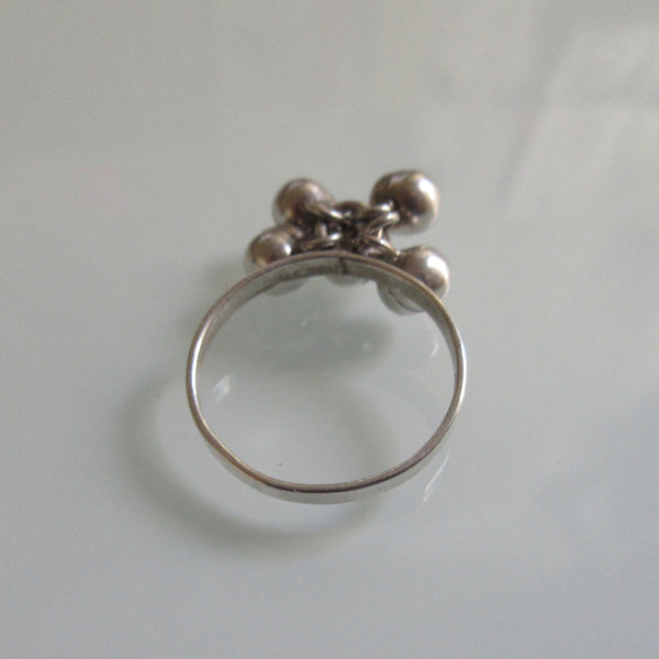 Sterling Silver Ring 5 Dangle balls