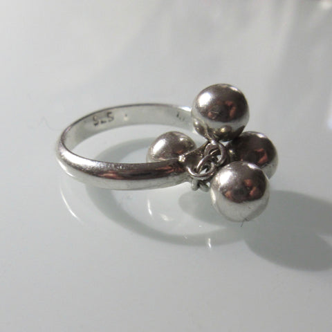 Sterling Silver Ring with Dangle balls