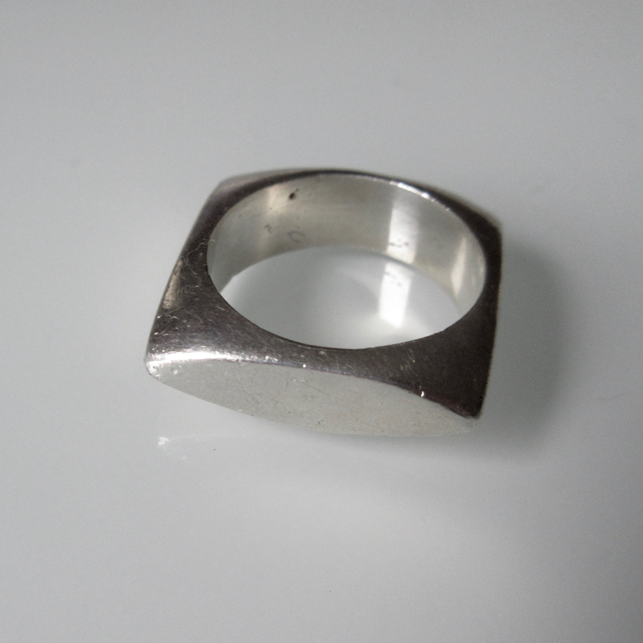 Contemporary Sterling Silver Square Ring