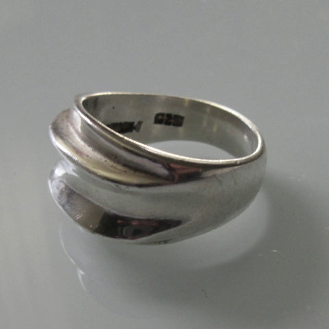 Modernist Raised Ridge Sterling Silver Ring