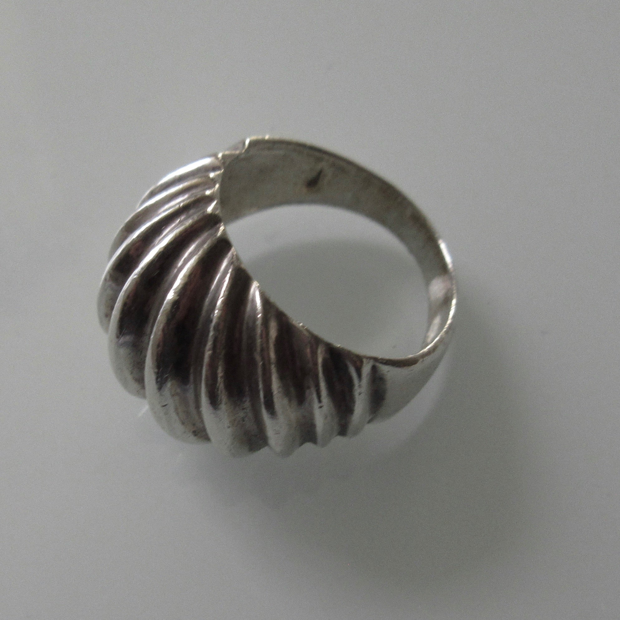 Modernist Raised Ridge Domed Sterling Silver Ring