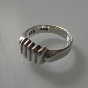 Bar Ridged Mexican Sterling Silver Ring