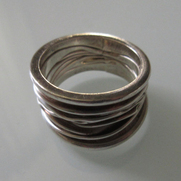 Brutalist silver ring