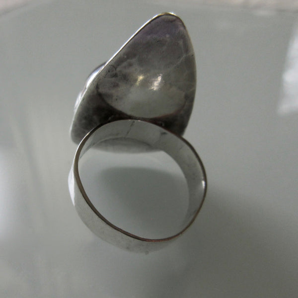 Modernist Oblong Sterling Silver Black Tourmaline Ring
