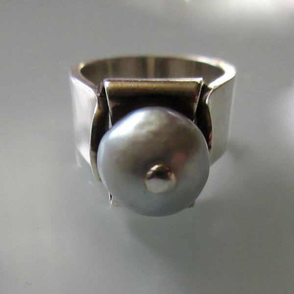 Modernist Sterling Silver with Pearl Ring
