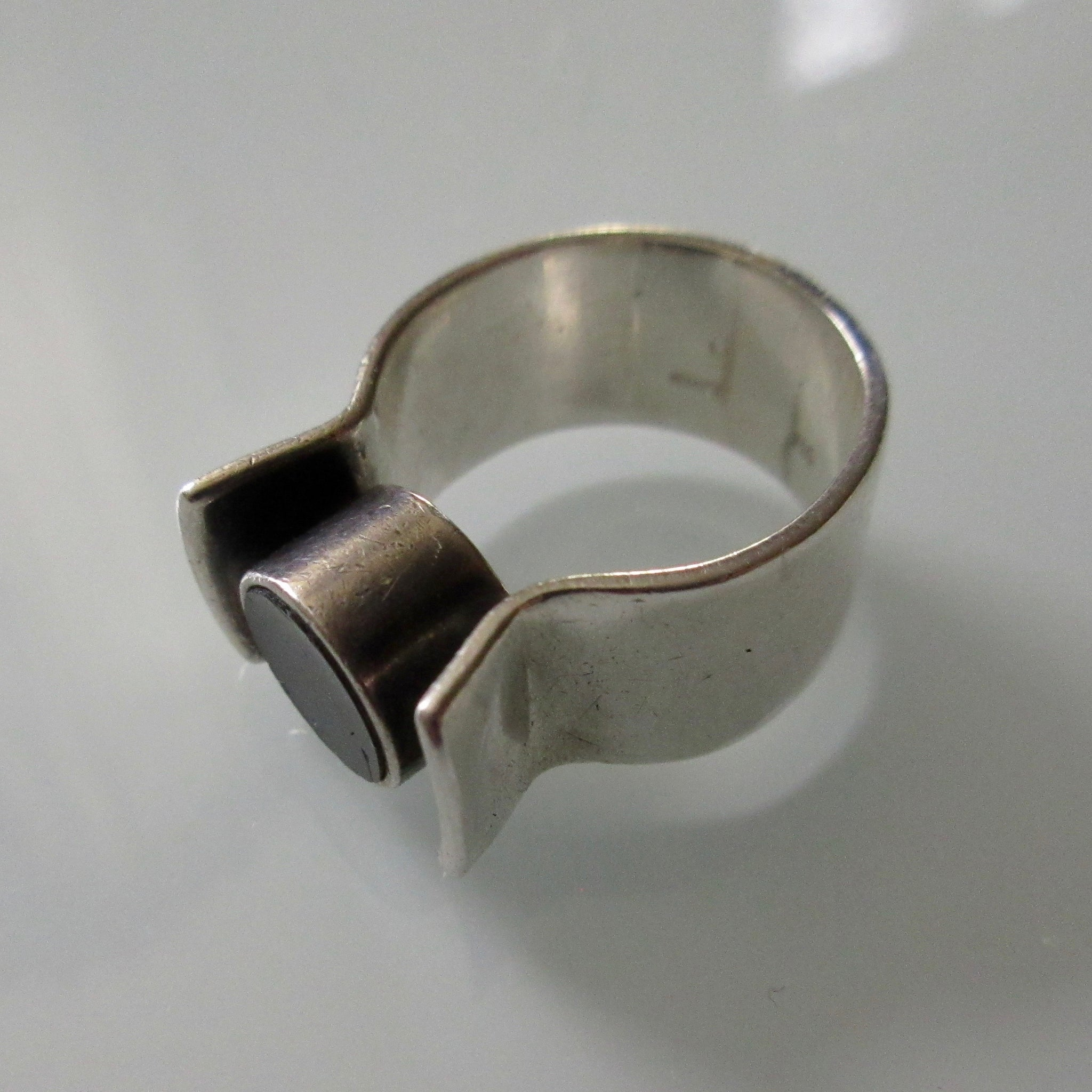 Modernist Sterling Silver with Inset Stone Ring
