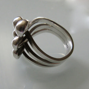 Vintage Sterling Silver Twist with Balls Ring