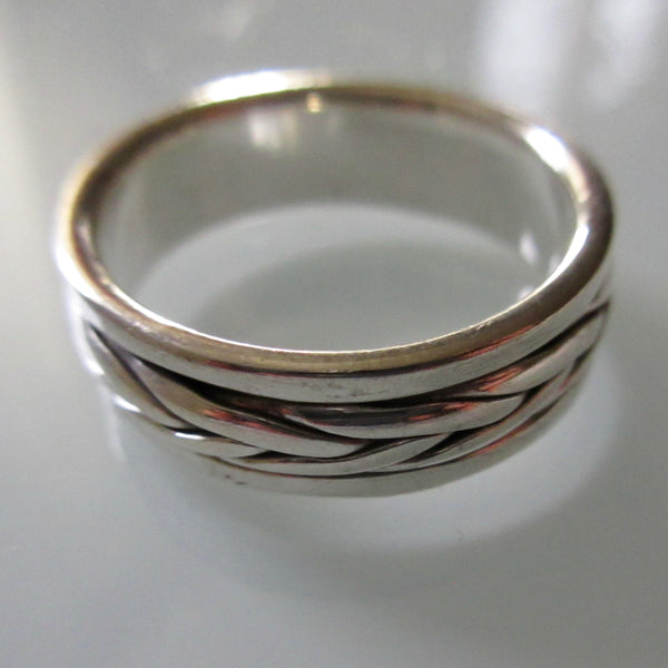 Vintage Sterling Silver Band Ring with Braid Detail