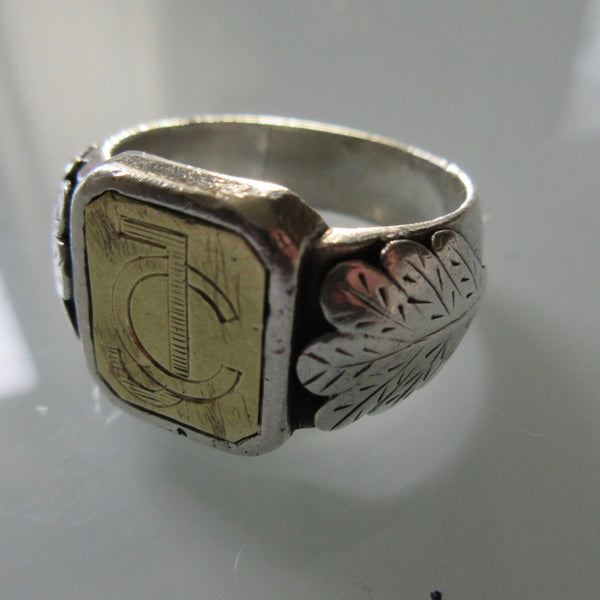 Vintage Sterling Silver Signet Ring Etched
