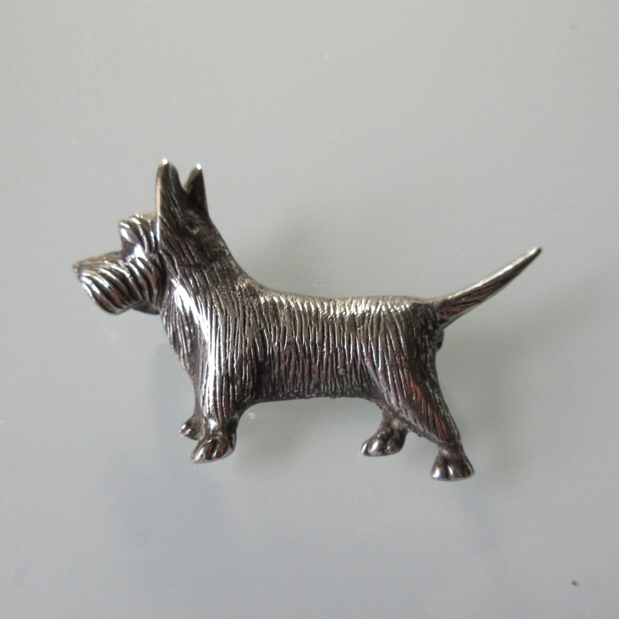 Vintage Scottie Dog Sterling Silver Brooch Pin