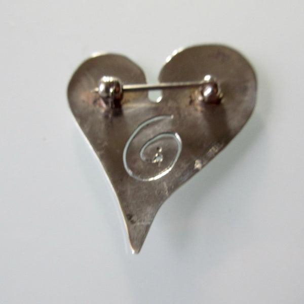 Polished Silver Heart Brooch Pin