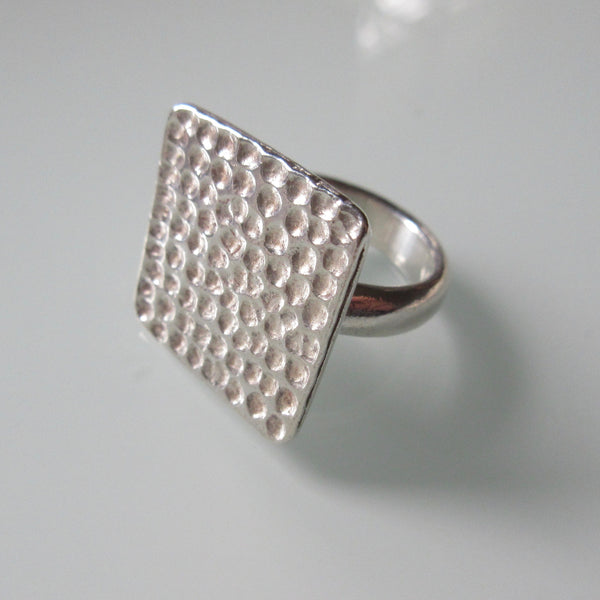 Contemporary Textured Square Sterling Silver Ring