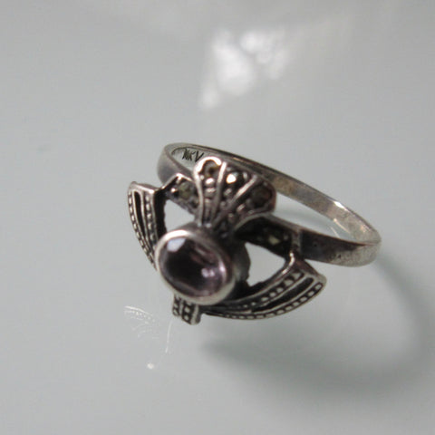Celtic Scottish Vintage Thistle Silver Ring