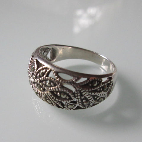 Vintage Marcasite Rounded Sterling Silver Ring