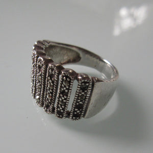 Marcasite Rounded Bars Sterling Silver Ring
