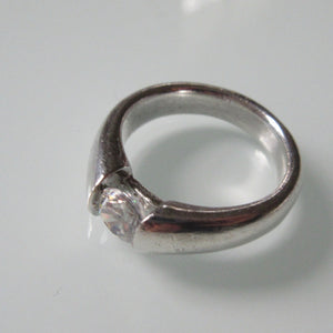 Contemporary Solitaire Zirconia Sterling Silver Ring