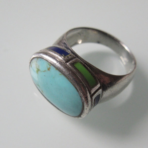 Oval Turquoise, Side Stones and Sterling Silver Ring