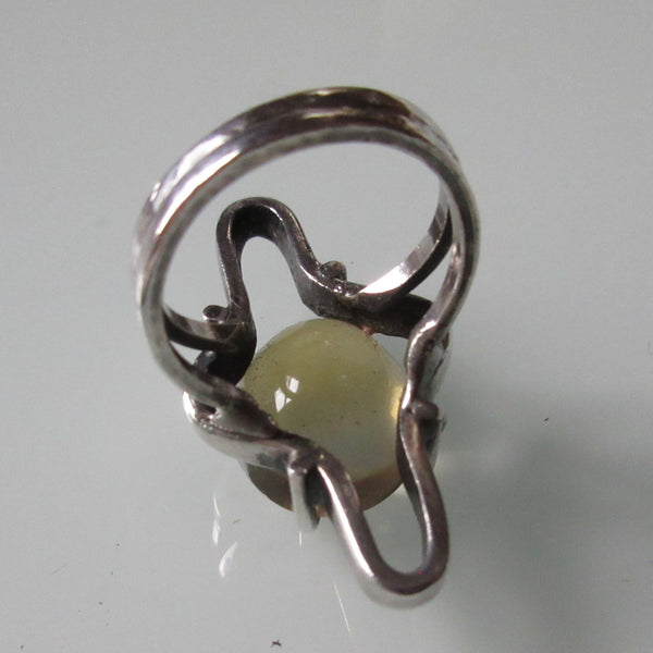 Modernist Silver and Citrine Ring
