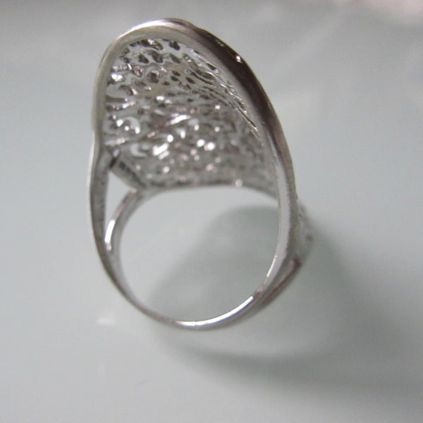Contemporary Sterling Silver Open Lace Ring