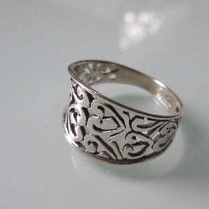Contemporary Sterling Silver Open Floral Ring