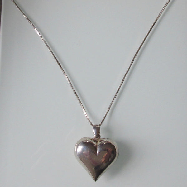 Vintage Heart Pendant on New Sterling Chain