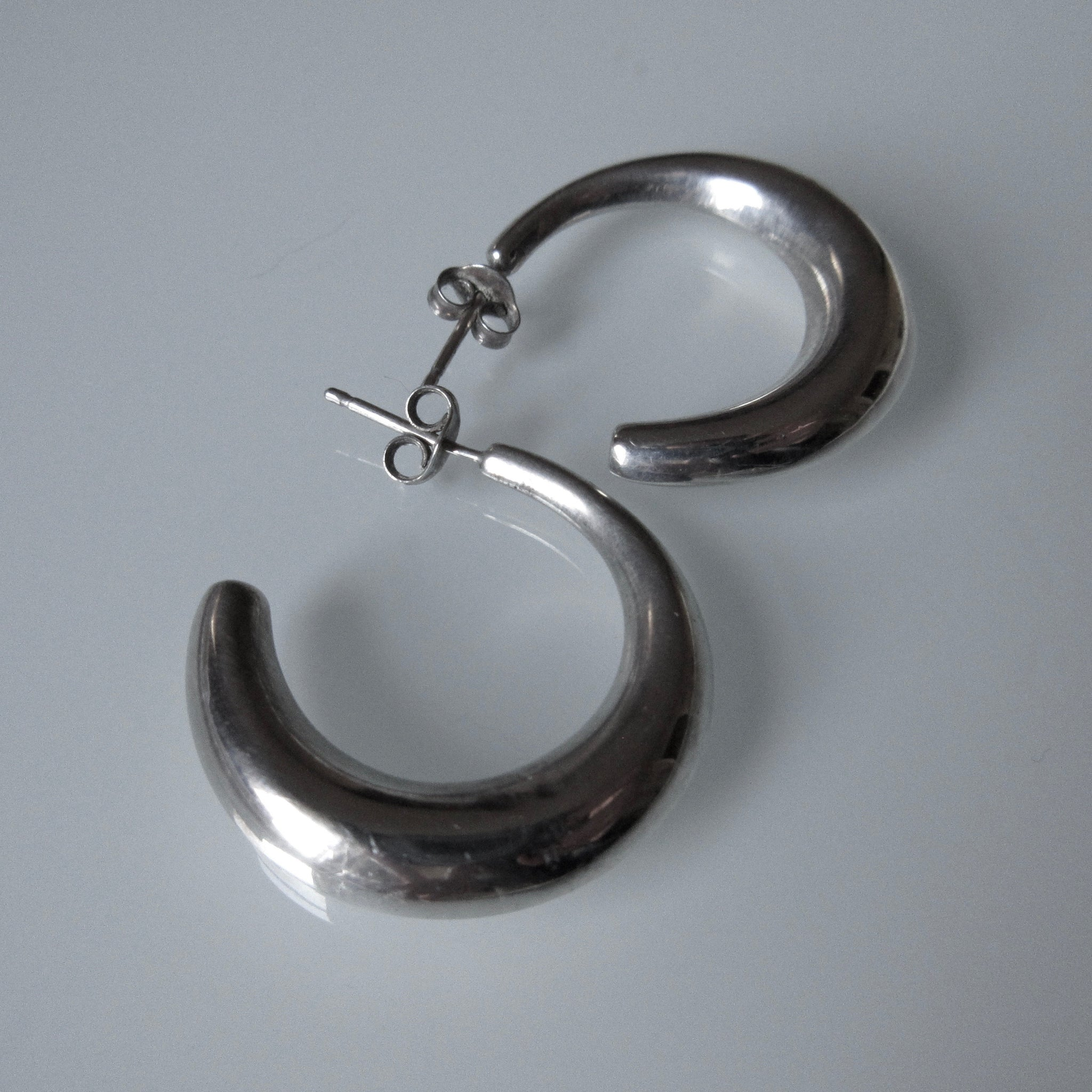 Hollow Sterling Silver Hoop Earrings