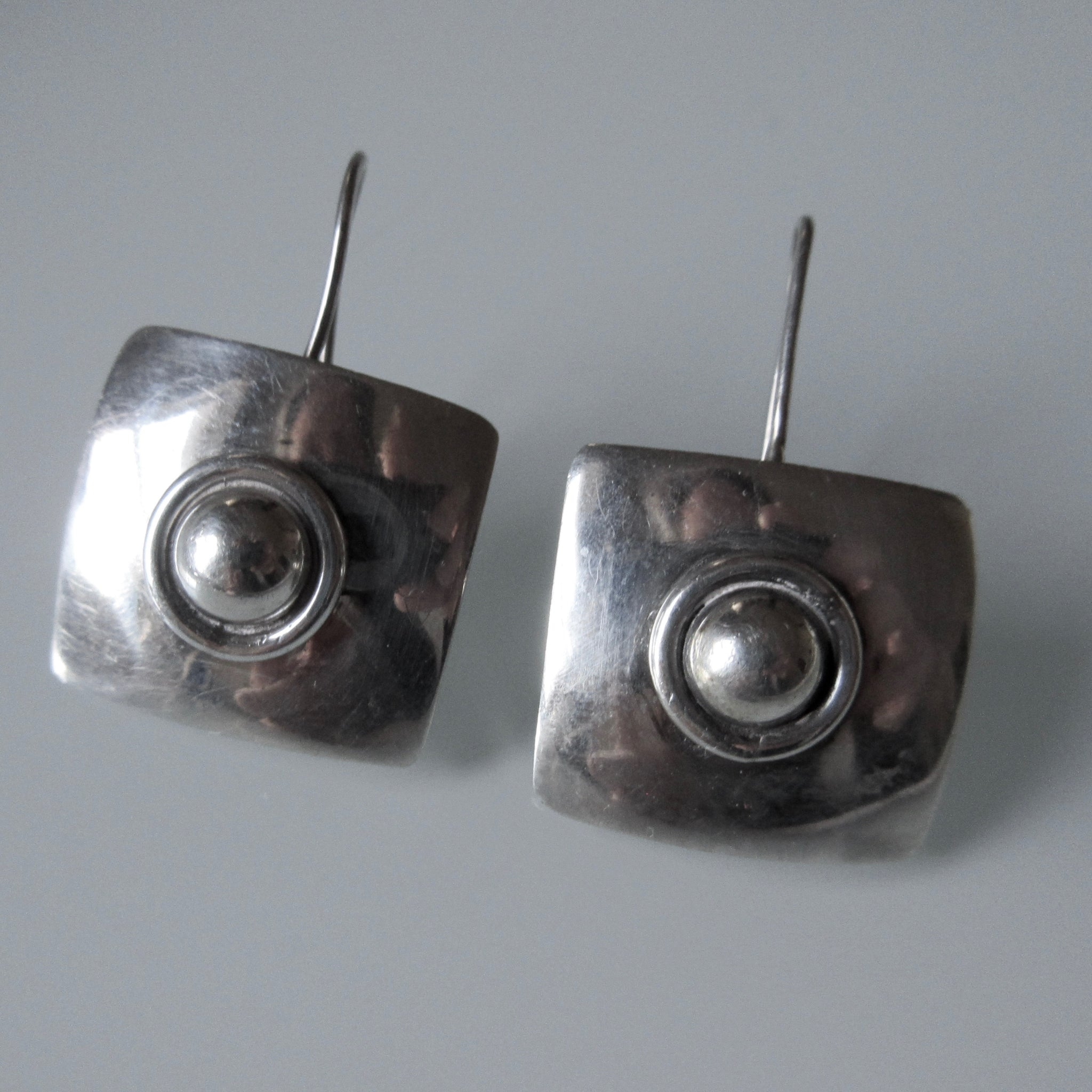 Vintage Square Sterling Silver Earrings Mexican