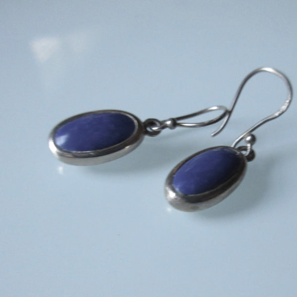 Vintage Tear Drop Sterling Silver Sodilite Earrings