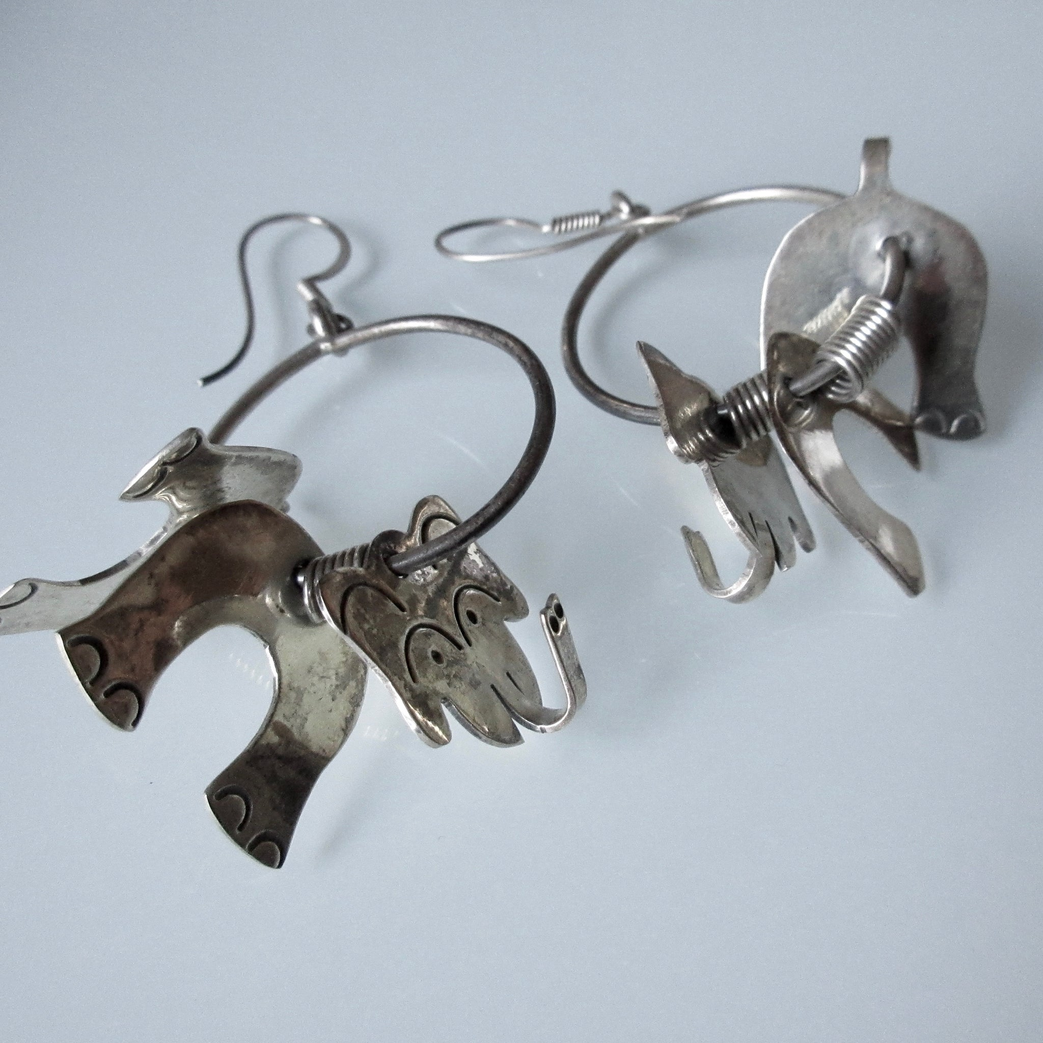 Vintage Articulating Elephant Sterling Silver Earrings Mexican