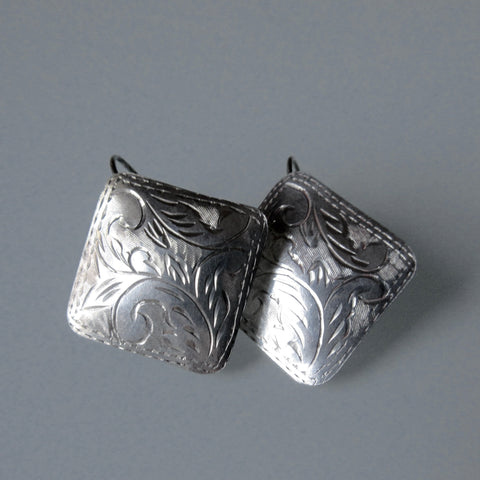Vintage  Etched Square Sterling Silver Earrings