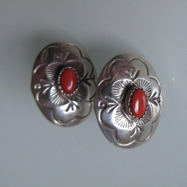 Navajo Sterling and Coral Oval Earrings
