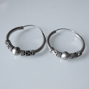 Boho Sterling Silver Hoop Earrings