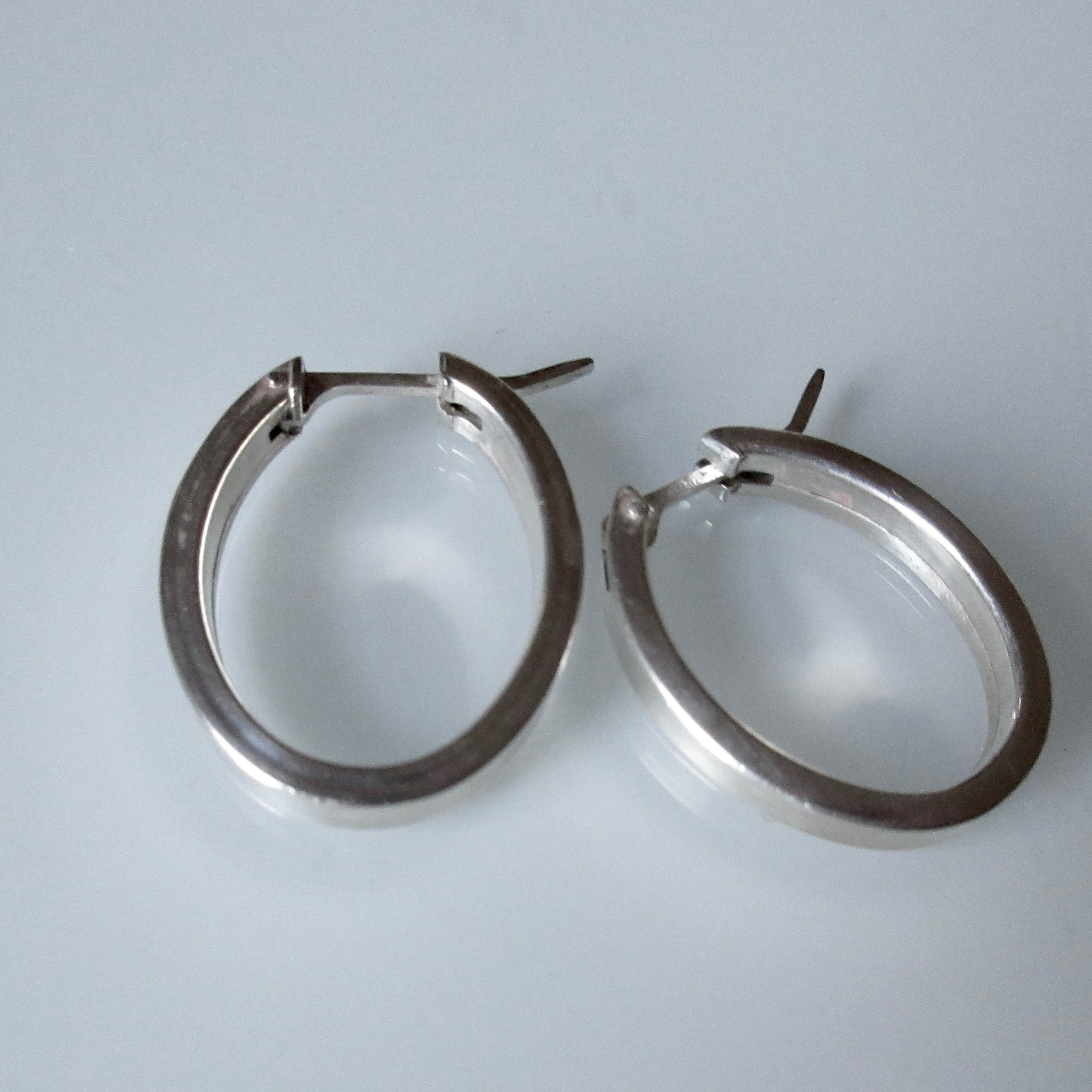 Oval Contemporary Sterling Silver Hoop Earrings