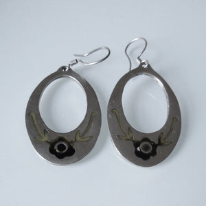 Navajo Style Sterling Silver Inset Flower Hoop Earrings