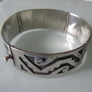 Hinged Sterling Silver Recessed Aztec Bracelet Taxco