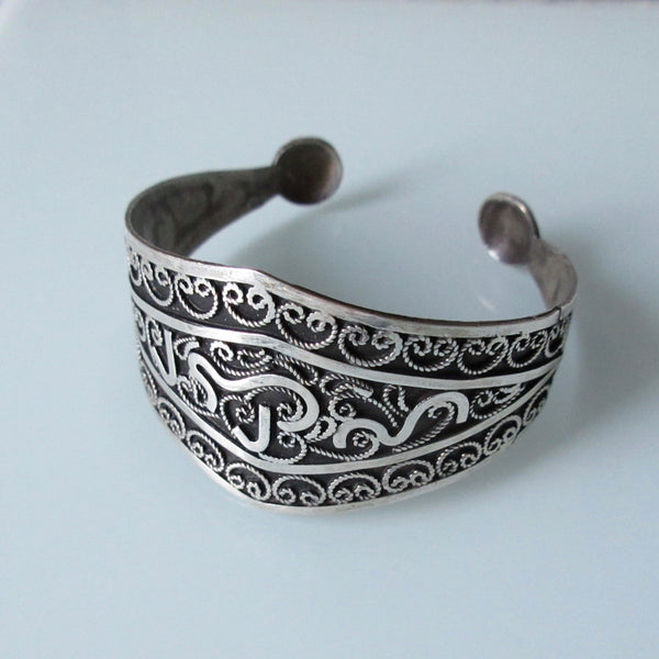Tribal Sterling Silver Cuff With Filigree