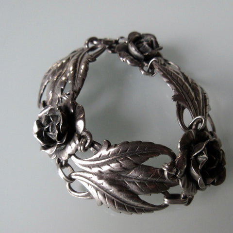 Ornate Flora Sterling Silver Hinged Bracelet